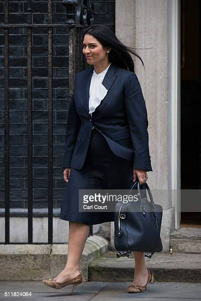 Minister for Employment Priti Patel leaves after attending a cabinet meeting at 10 Downing Street on February 23 2016 in London England Prime...