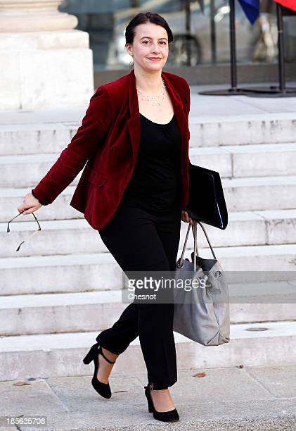 Minister for Equality of Territories and Housing Cecile Duflot leaves the Elysee Palace after the weekly cabinet meeting on October 23 2013 in Paris...