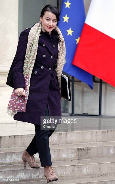 Minister for Equality of Territories and Housing Cecile Duflot leaves the Elysee Palace after the weekly cabinet meeting on January 29 in Paris France