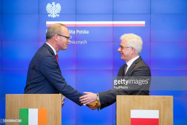 Minister for Foreign Affairs and Trade of Ireland Simon Coveney and Minister of Foreign Affairs of Poland Jacek Czaputowicz during the press...