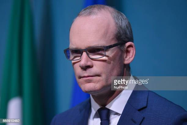 Minister for Foreign Affairs and Trade Simon Coveney makes a statement on Phase I of the Brexit negotiations On Monday 4 December 2017 in Dublin...