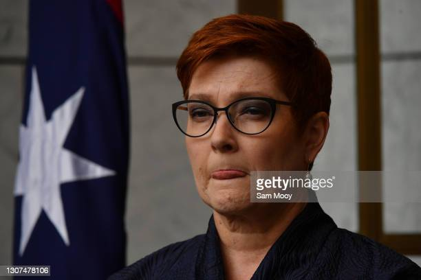 Minister for Foreign Affairs Marise Payne during a press conference in the Prime Ministers Courtyard at Parliament House on March 17, 2021 in...