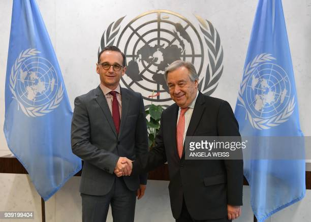 Minister for Foreign Affairs of Germany Heiko Maas meets with SecretaryGeneral of the United Nations Antonio Guterres on March 28 2018 at the United...