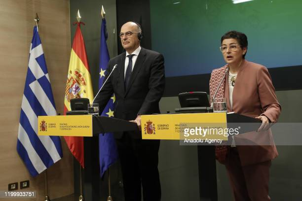 Minister for Foreign Affairs of Greece Nikos Dendias and Minister of Foreign Affairs of Spain Arancha Gonzalez Laya hold a joint press conference...