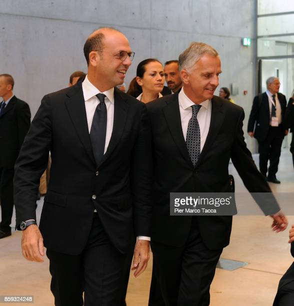 Minister for Foreign Affairs of Italy Angelino Alfano and Federal Councilor of the Swiss Foreign Affairs Department Didier Burkhalter attend the...