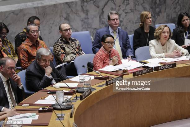 Minister for Foreign Affairs of the Republic of Indonesia Retno Lestari Priansari Marsudi leading the Security Council debate on the protection of...
