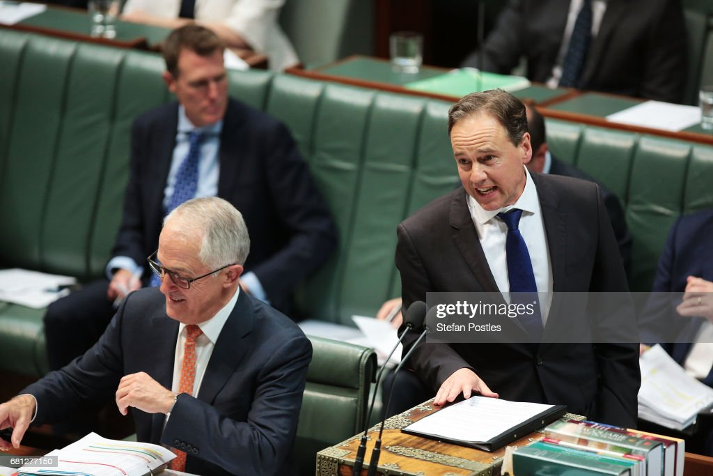 Minister for Health Greg Hunt during question time at Parliament House on May 10, 2017 in Canberra, Australia. The Turnbull Government's second budget has delivered additional funds to education, a plan to assist first home buyers, along with a crackdown on welfare.
