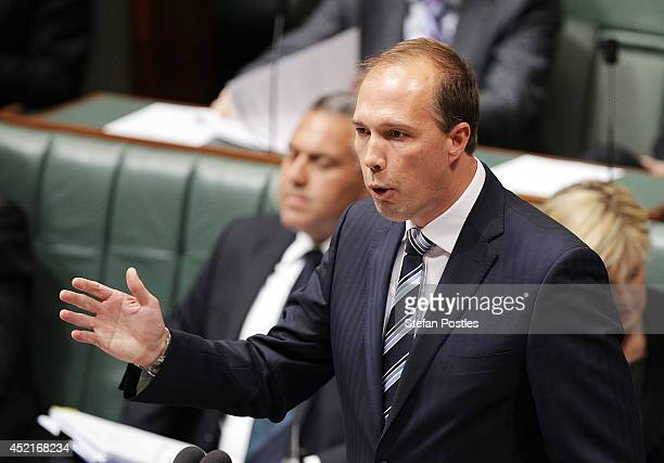 MInister for Health Peter Dutton during Question Time at Parliament House on July 15 2014 in Canberra Australia A vote on the Government's Carbon Tax...