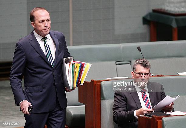 Minister for Immigration and Border Protection Peter Dutton arrives at House of Representatives question time at Parliament House on September 16...