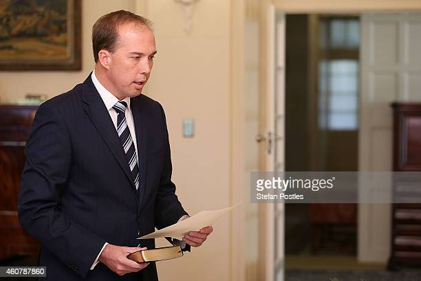 Minister for Immigration and Border Protection Peter Dutton is sworn in by GovernorGeneral Peter Cosgrove at Government House on December 23 2014 in...