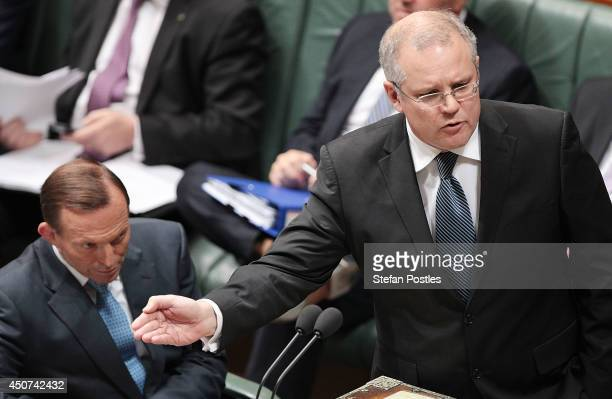 Minister for Immigration and Border Protection Scott Morrison during the house of representatives Question time on June 17 2014 in Canberra Australia...