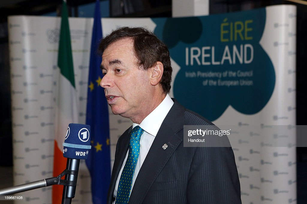 Minister for Justice, Equality and Defence, Alan Shatter on his arrival to the Informal Justice and Home Affairs Council meeting in Dublin Castle, Dublin, Ireland on January 18, 2013, as part of Ireland's hosting of the EU Presidency.