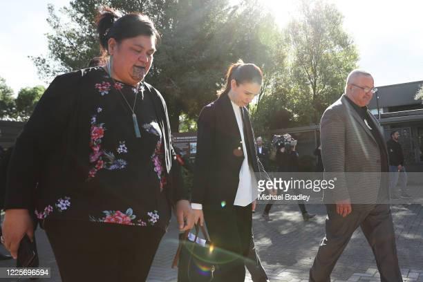 Minister for Māori Development Nanaia Mahuta and Prime Minister Jacinda Ardern during a tour of Te Puia New Zealand Māori Arts and Crafts Institute...
