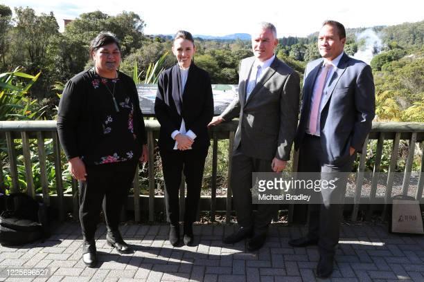 Minister for Māori Development Nanaia Mahuta Prime Minister Jacinda Ardern Tourism Minister Kelvin Davis and MP Tamati Coffey during a tour of Te...