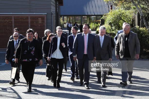Minister for Māori Development Nanaia Mahuta Prime Minister Jacinda Ardern MP Tamati Coffey and Tourism Minister Kelvin Davis during a tour of Te...