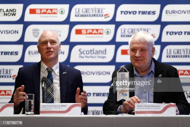 Minister for Public Health Sport and Wellbeing Joe FitzPatrick MSP and European Athletics President Svein Arne Hansen of Norway attend a press...