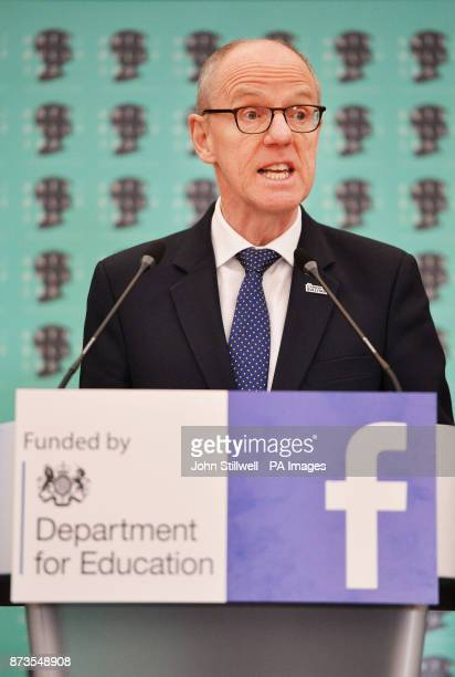 Minister for Schools Nick Gibb talks during an antibullying photocall at Alexandra Palace London