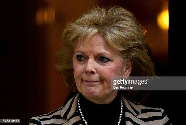 Minister for Small Business Anna Soubry departs Number 10 Downing Street after a meeting with British Prime Minister David Cameron on March 31 2016...