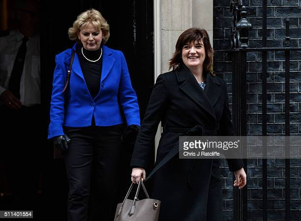 Minister for Small Business Industry and Enterprise Anna Soubry and Education Secretary Nicky Morgan leave after the cabinet meeting at Downing...
