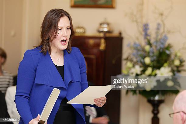 Minister for Small Business Kelly O'Dwyer is sworn in by GovernorGeneral Sir Peter Cosgrove during the swearingin ceremony of the new Turnbull...