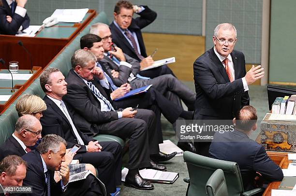 Minister for Social Services Scott Morrison speaks during House of Representatives question time at Parliament House on February 10 2015 in Canberra...