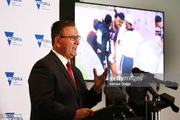 Minister For Sport John Eren MP speaks during a media opportunity announcing the installation of a statue in honour of Australian athlete Peter...