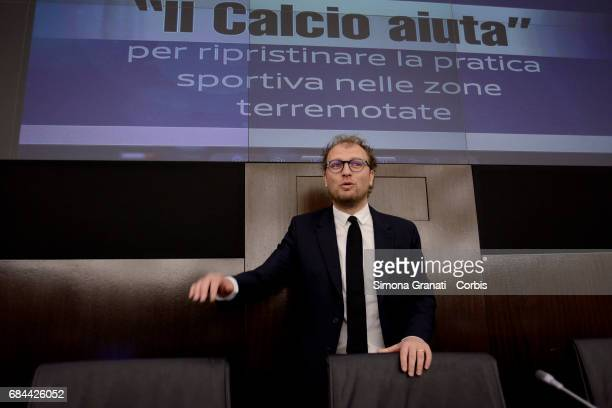 Minister for Sport Luca Lotti at the Presentation of the Football Program ' Il Calcio Aiuta' on May 18 2017 in Rome Italy The presentation was made...