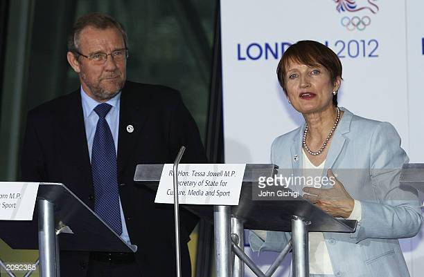 Minister for Sport Richard Caborn and MP Secretary of State for Culture Media and Sport Tessa Jowell talking to the press during a press conference...