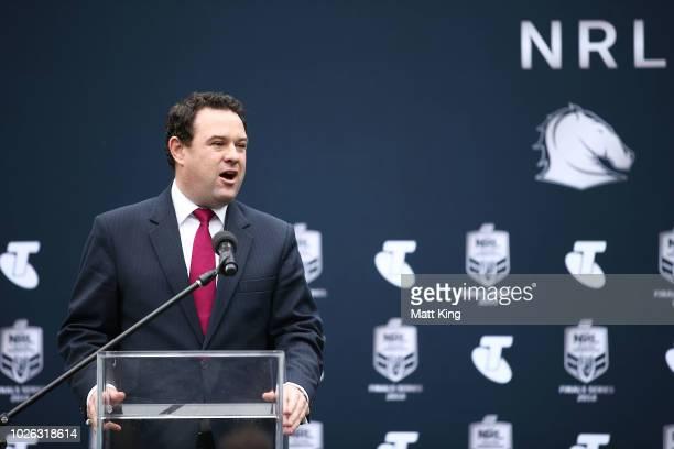 Minister for Sport Stuart Ayers speaks during the 2018 NRL Finals Series Launch at Allianz Stadium on September 3 2018 in Sydney Australia