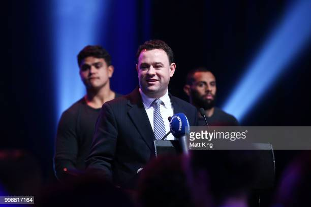 Minister for Sport Stuart Ayres speaks during a New South Wales Blues public reception after winning the 2018 State of Origin series at The Star on...