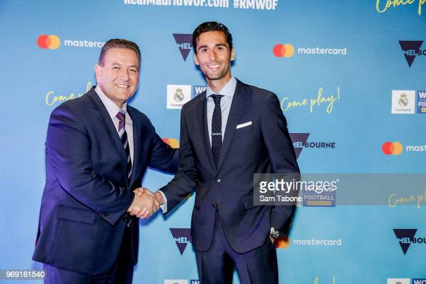 Minister for Sports and Events John Eren and Real Madrid Football Legend Alvaro Arbeloa attends the premiere of the Real Madrid World Of Football...