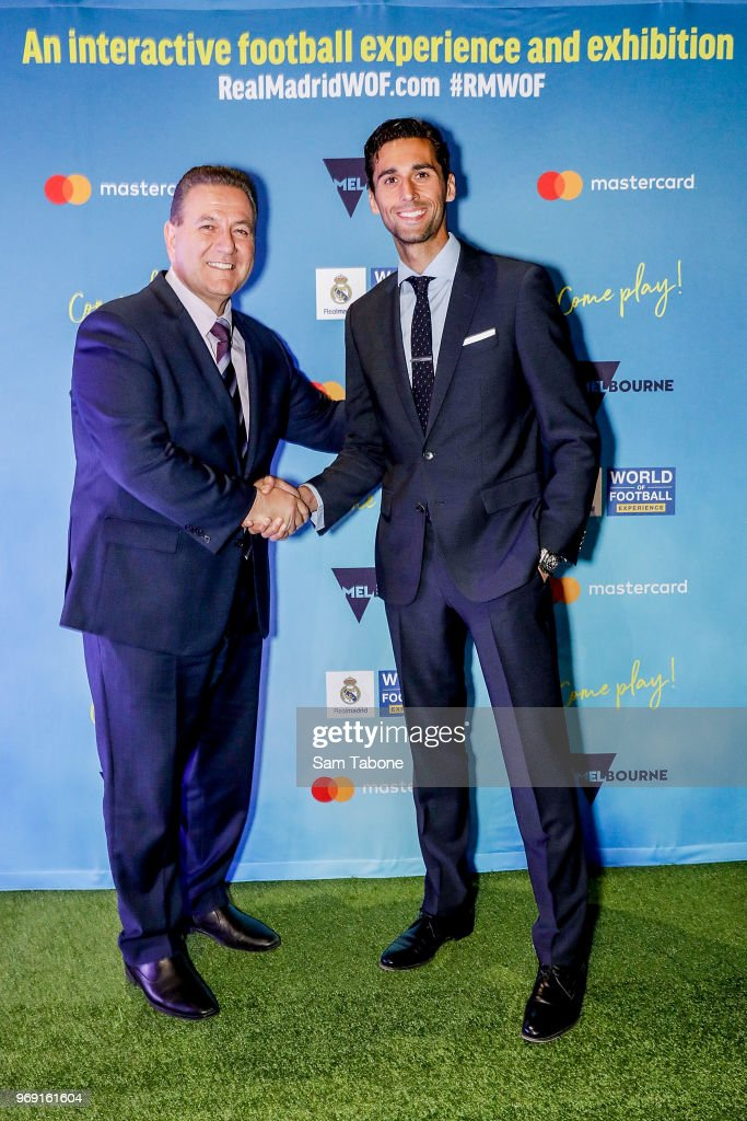 Minister for Sports and Events John Eren and Real Madrid Football Legend Alvaro Arbeloa attends the premiere of the Real Madrid World Of Football Experience at Melbourne Museum Plaza on June 7, 2018 in Melbourne, Australia.