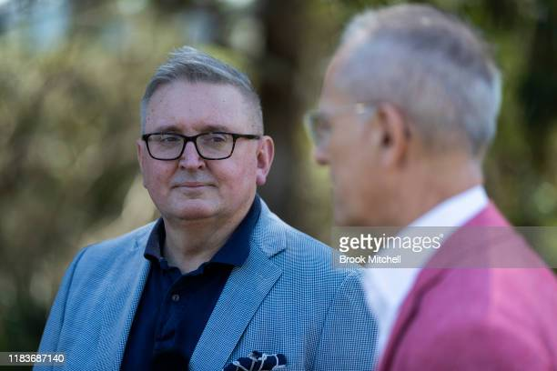 Minister for the Arts Don Harwin and Art Gallery Of NSW director Michael Brand speak at the Art Gallery Of NSW on October 27 2019 in Sydney Australia...