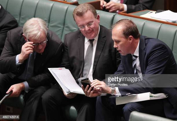 Minister for Trade and Investment Andrew Robb Minister for Small Business Bruce Billson and Minister for Health Peter Dutton during the house of...