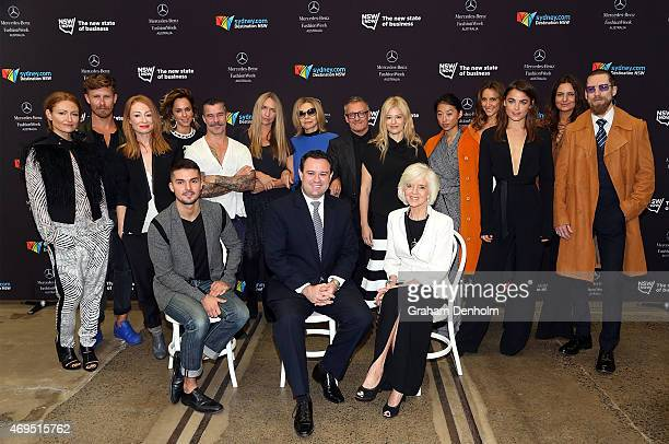 Minister for Trade Tourism and Major Events Stuart Ayres poses with the 'Faces of NSW Fashion' at MercedesBenz Fashion Week Australia 2015 at...