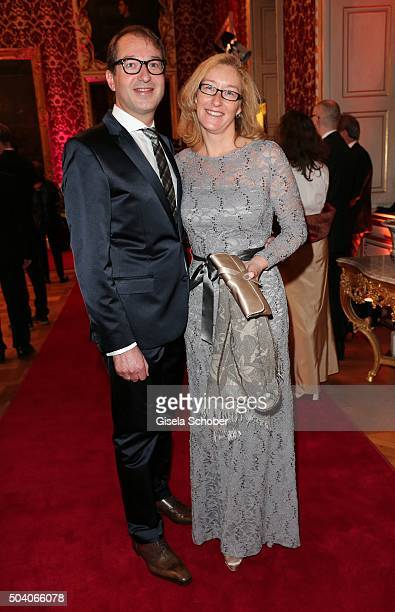 Minister for transport Alexander Dobrindt and his wife Tanja Kaeser during the new year reception of the Bavarian state government at Residenz on...