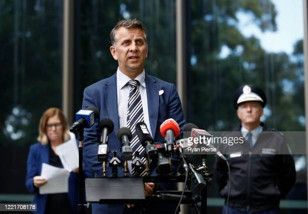 Minister for Transport Andrew Constance speaks during a media briefing on April 29 2020 in Sydney Australia NSW Premier Gladys Berejiklian has...