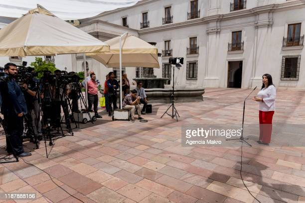 Minister General Secretary of Government Karla Rubilar speaks with the press after the agreement presented by the heads of the Chilean political...