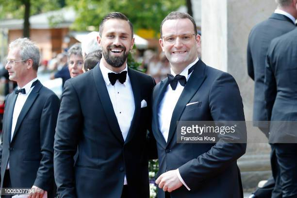 Minister Jens Spahn and his husband Daniel Funke during the opening ceremony of the Bayreuth Festival at Bayreuth Festspielhaus on July 25 2018 in...