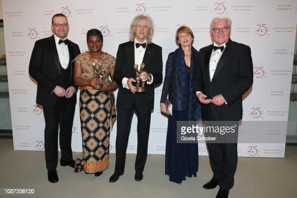 Minister Jens Spahn Monica Geingos First Lady of Namibia Sir Bob Geldof and FrankWalter Steinmeier Federal President of Germany and his partner Elke...