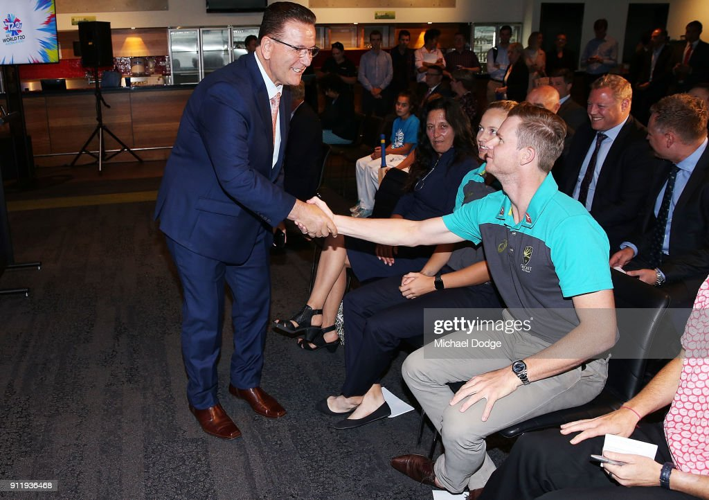 Minister John Eren meets Australian Cricket captain Steve Smith during the ICC World T20 media opportunity at on January 30, 2018 in Melbourne, Australia.