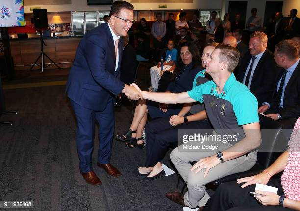 Minister John Eren meets Australian Cricket captain Steve Smith during the ICC World T20 media opportunity at on January 30 2018 in Melbourne...