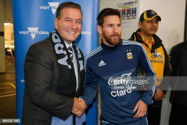 Minister John Eren meets Lionel Messi of Argentia before the Brasil Global Tour match between Brazil and Argentina at Melbourne Cricket Ground on...