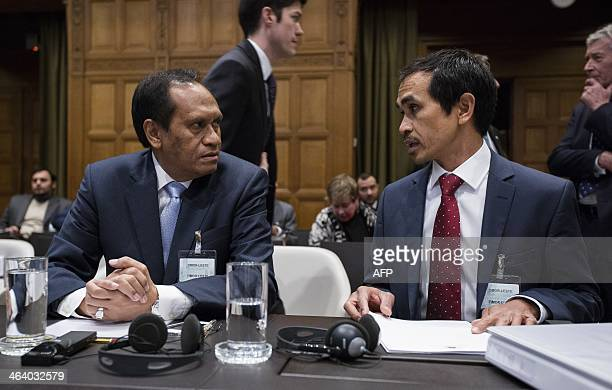 Minister Jose Luis Gutteres of Foreign Affairs in TimorLeste and Joaquim a Fonseca ambassador of EastTimor in the Netherlands attend the trial at the...