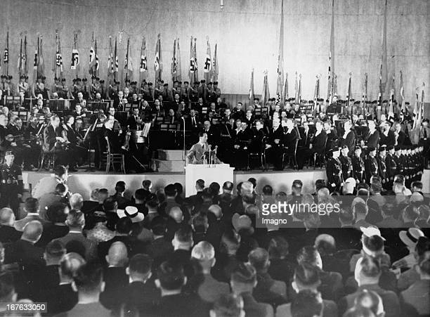 Minister Joseph Goebbels opens the 14th Rundfunkausstellung in the halls at the Funkturm Berlin July 30th 1937 Photograph Reichsminister Joseph...