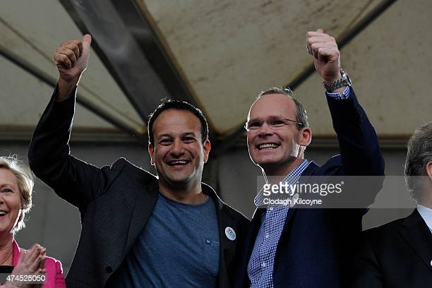 Minister Leo Varadkar and TD Simon Coveney celebrate a landslide victory of a Yes vote after a referendum on same sex marriage was won by popular...