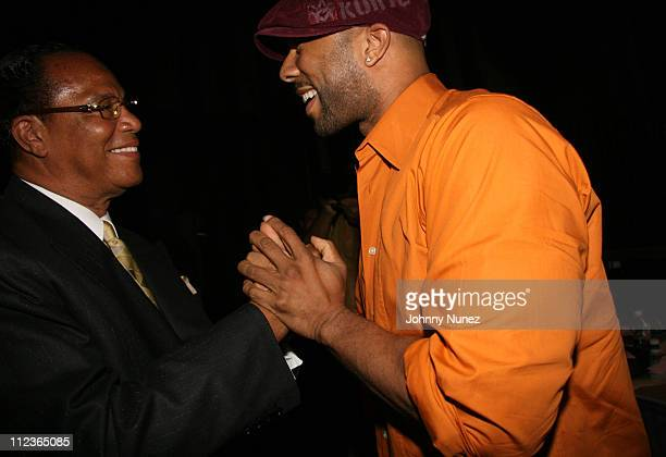 Minister Louis Farrakhan and Common during Coca Cola Presents the 2006 Essence Music Festival Day 3 at Reliant Park in Houston Texas United States