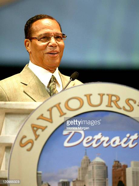 Minister Louis Farrakhan during Minister Farrakhan Delivers One Nation Under God Message on Saviours' Day in Detroit Michigan United States
