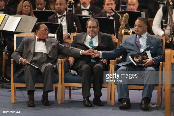 Minister Louis Farrakhan greets Rev Jesse Jackson after Jackson spoke at the funeral for Aretha Franklin at the Greater Grace Temple on August 31...