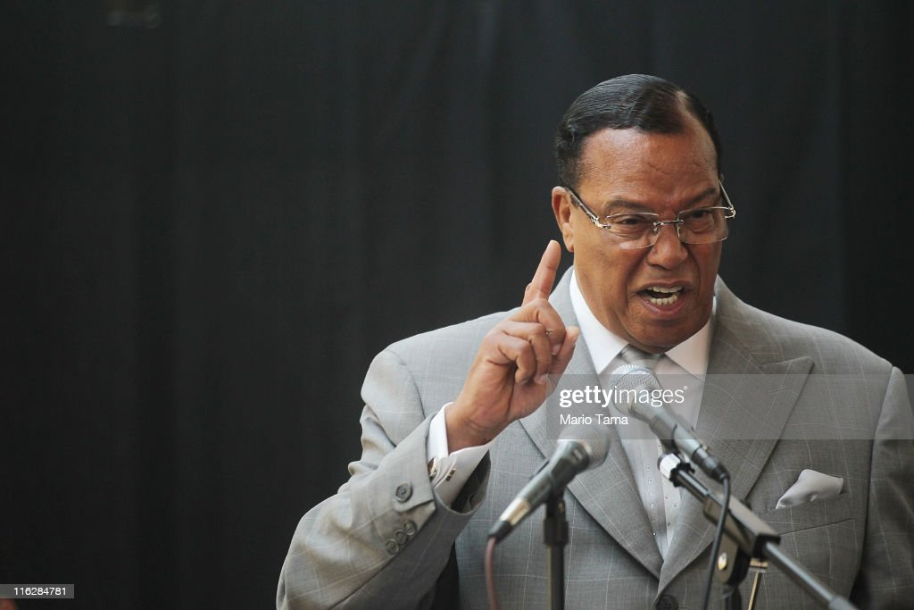 Louis Farrakhan And Ramsey Clark Hold News Conference To Criticize NATO's Involvement In Libya : News Photo
